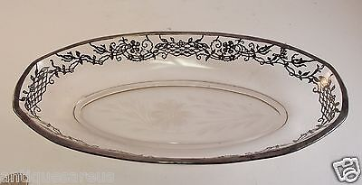 "Antique Siver Overlay Celery  Bowl 11.5"" With Cornflower Pattern"