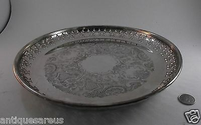 "12"" PRIMROSE SIVER PLATE  TRAY pierced SIDES"