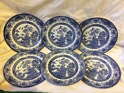 English Ironstone Old Willow Blue & White pottery 6 dinner plates