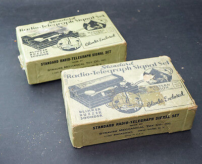 Two Boxed Radio Telegraph Signal Sets by Strauss Mechanical Toy Co. New York