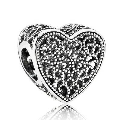 Filled with Romance Beaded Heart Charm Genuine 925 Sterling Silver