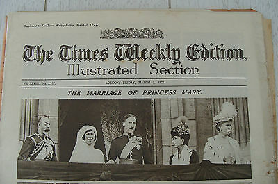 1922 Times Weekly Edition -marriage of Princess Mary & The Earl of Lascelles