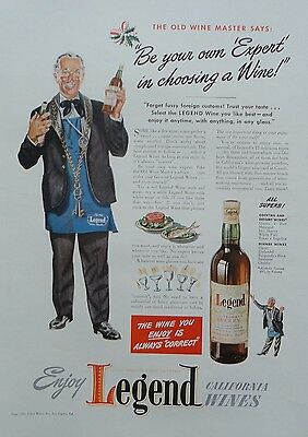 1941 ORIG PRINT AD LEGEND CALIFORNIA WINES be you own expert in choosing a wine
