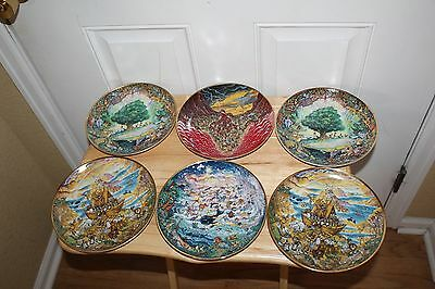 Bill Bell  PARADISE Bible Scene Collector Plate Franklin Mint Heirloom Lot of 6