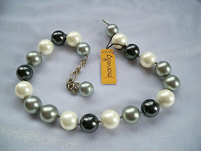 Vintage Marvella White Black & Grey Chunky Faux Pearl Hand Knotted Necklace