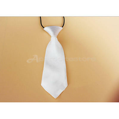 Fashion School Boys Children Kids Wedding Solid Colour Elastic Tie Necktie White