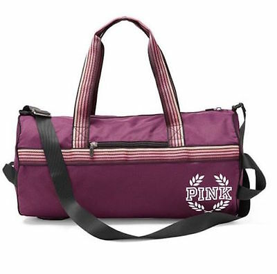 Victoria's Secret PINK Gym Bag Duffle Travel Tote Retro Stripe Ruby Maroon NEW