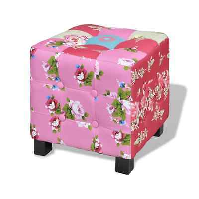 Padded Square Foot Stool Patchwork Hocker Ottoman Chair Bedroom Colourful Seat