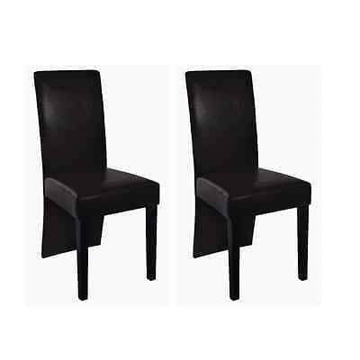 New 2pc PU Leather Dining Chair Brown Kitchen Stool Set High Back Modern Seat