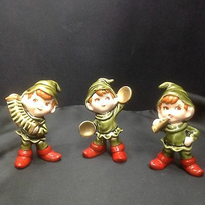 "Vintage 3 PC Ceramic Pixie Elves Musical 4 1/2"" Band Trio  F307 Japan"