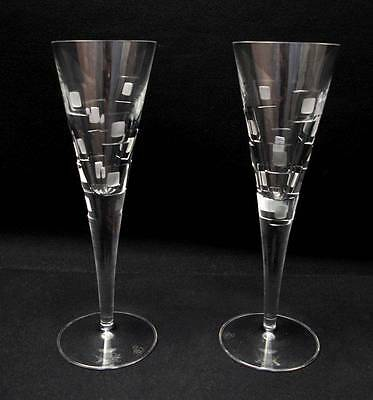 "Pair Of Quality Royal Doulton Crystal ""metro"" Champagne Flutes Glasses 1"