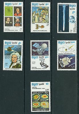 Kampuchea (Cambodia) 1986 Halley's Comet (astronomy, space, science) 7v MNH