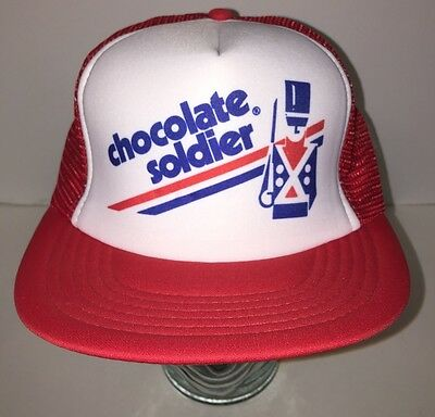 Vintage 80s Chololate Soldier Cola Soda Red White Trucker Hat Cap Mesh Snapback