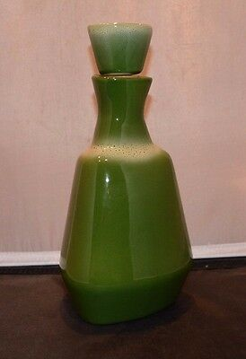 Tamac Oklahoma Pottery MCM  Frosty Pine Green Decanter and Stopper