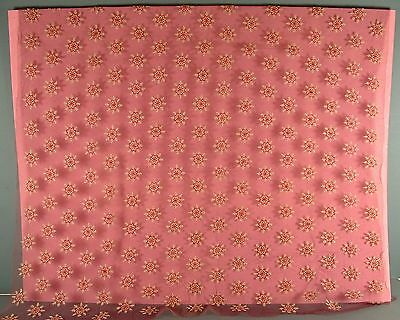 Antique Vintage Brown Net With Embroidered Red & Cream Snowflake Flowers Fabric
