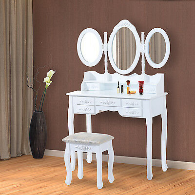 Coiffeuse table/commode de maquillage 3 miroirs 7 tiroirs  blanc neuf 96