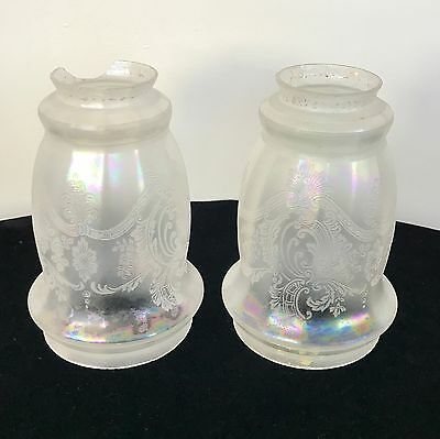Pair Antique Lamp Shades in Frosted Clear and Etched Iridescent Carnival Glass