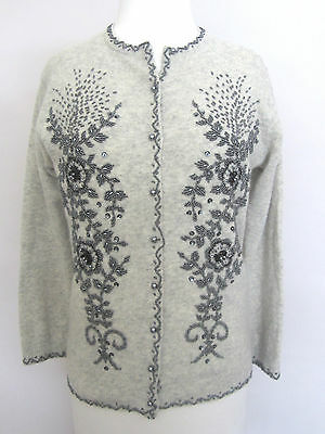 VINTAGE beaded cardigan lambswool grey with black beads - GREAT CONDITION- Sz. S