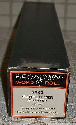 'SUNFLOWER' BROADWAY PIANOLA WORD ROLL One Step (2943) *torn*