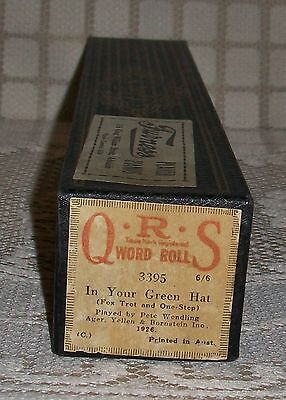 1926 'IN YOUR GREEN HAT' Q.R.S. PIANOLA WORD ROLL Fox Trot/One Step (3395)