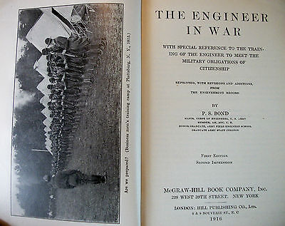 Rare WWI Engineer in War by Bond 1916 1st Ed Trench Warfare Book