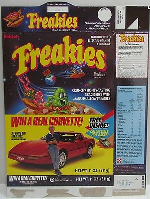 Ralston Freakies Cereal Box with Win a Real Corvette Offer, 1988