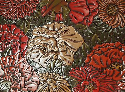 MAGNIFICENT ANTIQUE JAPANESE CARVED LACQUER MID CENTURY TRAY Kamakura Flowers