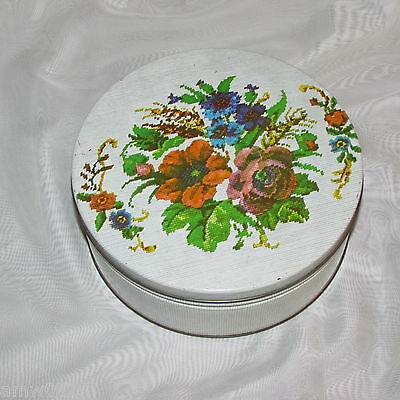 Vintage Cookie Biscuit Tin Cross-Stitch Flowers Round Canister Kitchenware