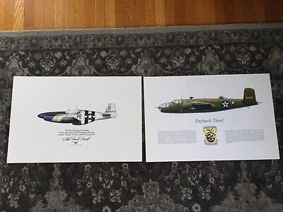352nd FG P-51 & B-25 Doolittle Raider WWII Print Punchy Powell Signed! Bluenoser