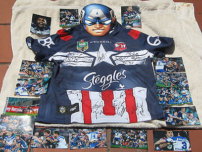Roosters   Ca .jersey Signed By  19,jwh,pearce,+Masks,photos,k,ring