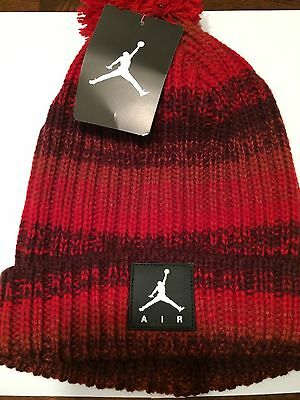 JORDAN Youth Cable Knit Gym Red Pom Winter Hat Cap New Beanie NWT