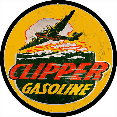 Clipper Gasoline And Motor Oil Round Nostalgic Reproduction Metal Sign