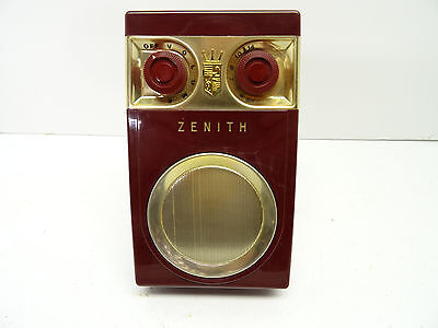 """Zenith Royal 500 HAND WIRED """"Owl Eye"""" transistor radio (Red) leather CASE"""