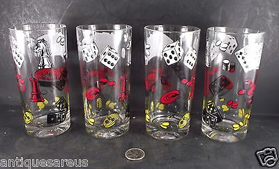 Set Of 4 Cocktail Martini Glasses Red Black Gaming Dice Cards Roulette Wheel Etc