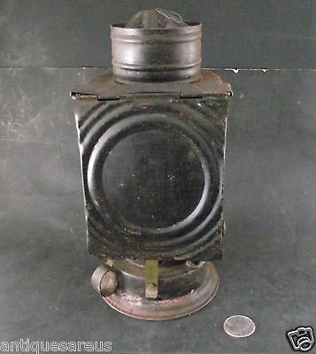 Antique W.v. & B Tin Oil Lantern With Red Glass Photography Red Glass Under Flap