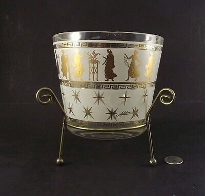 Midcentury Modern Glass Ice Bucket With Holder & Greek Godess Jeanette ?
