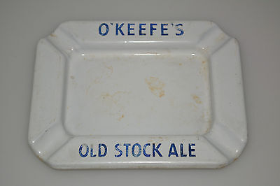 Vintage O'KEEFES OLD STOCK ALE Ashtray Beer Advertising Porcelain Enamel Ware