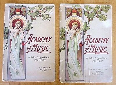 Antique Vintage Academy Of Music NYC 1910 & 1909 Program Book Lot: Ringmaster...