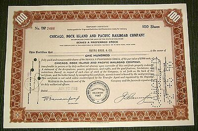 Vintage Chicago, Rock Island & Pacific Railroad Co., Preferred Stock Certificate