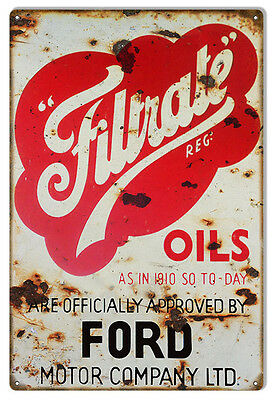 """Reproduction Ford Filtrate Oils Metal Sign. 12""""x18"""""""