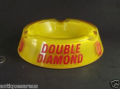Double Diamond Dd Red Yellow Clear  Glass  Ashtray