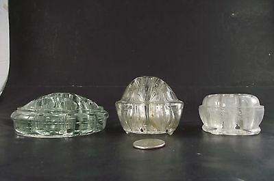 3 Vintage Glass Flower Frogs