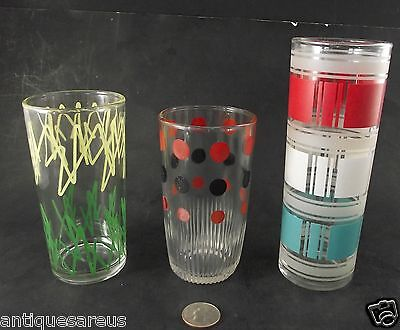 Glass Lot  Red And Black Hazel Atlas , Green And Yellow Design And Tall Dominion