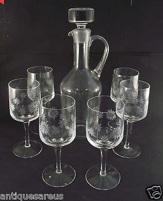 Etched Glass Decanter With 6 Matching Wine Glasses
