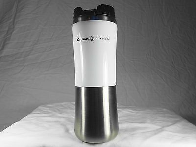Caribou Coffee White/Stainless Steel Insulated Tumbler 16 oz