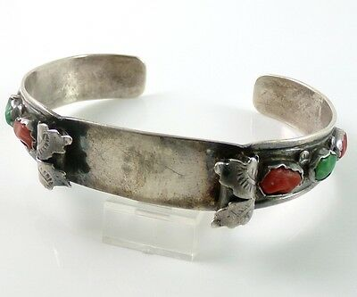 Native Amer Sterling Silver Vintage Turquoise Coral Cuff Watch Band Signed VJC