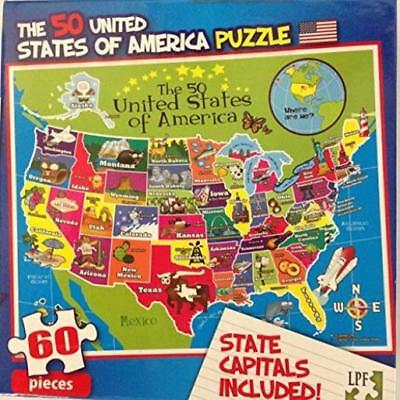 New 60 Pc Jigsaw Puzzle Childrens Educational Us Map United States W - Puzzle-us-map