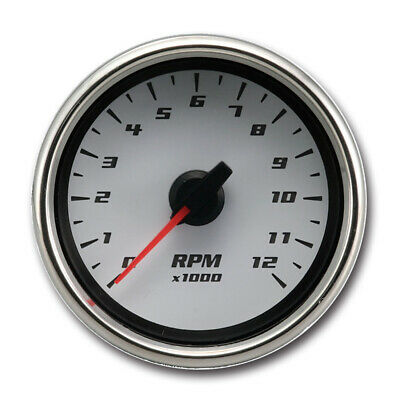 0-12000 RPM Electrical Motorcycle Tachometer Gauge (white face)