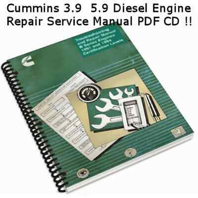 Cummins 3.9 5.9, 4+6 Cylinder Diesel Engine 91 94 Repair Manual PDF CD **Nice**