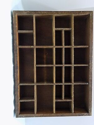Small Vintage Hanging Curio Box For Minis  Brown Wood  (T6-5)